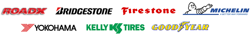 Commercial tire brands RoadX, Bridgestone, Firestone, MICHELIN, Yokohama, Kelly, and Goodyear