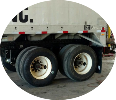 tires on white semi-truck