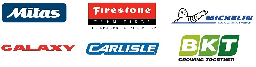 Farm tire brands Mitas, Firestone, Michelin, Galaxy, Carlisle, and BKT